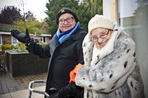 Jean and Harry, HCHA residents, keeping warm