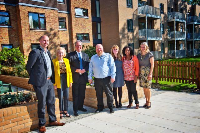 Left to right: Dave Smith from NHF, Cllr Camilla Bath, Bob Blackman MP, Christopher Holley, CEO of HCHA, with HCHA staf Nicola Hartley, Hyacinth Blake and Tracey Baldwin